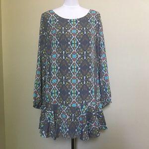 NWT $72 BUDDY LOVE Chyna Tetris gray boho dress M